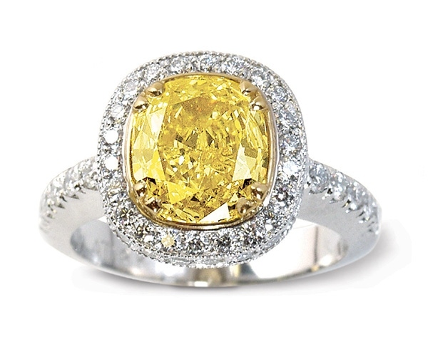 Yellow and White Diamonds Set in Platinum