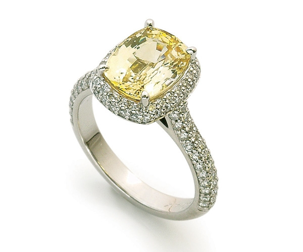 Yellow Sapphire and Diamonds Set in Platinum